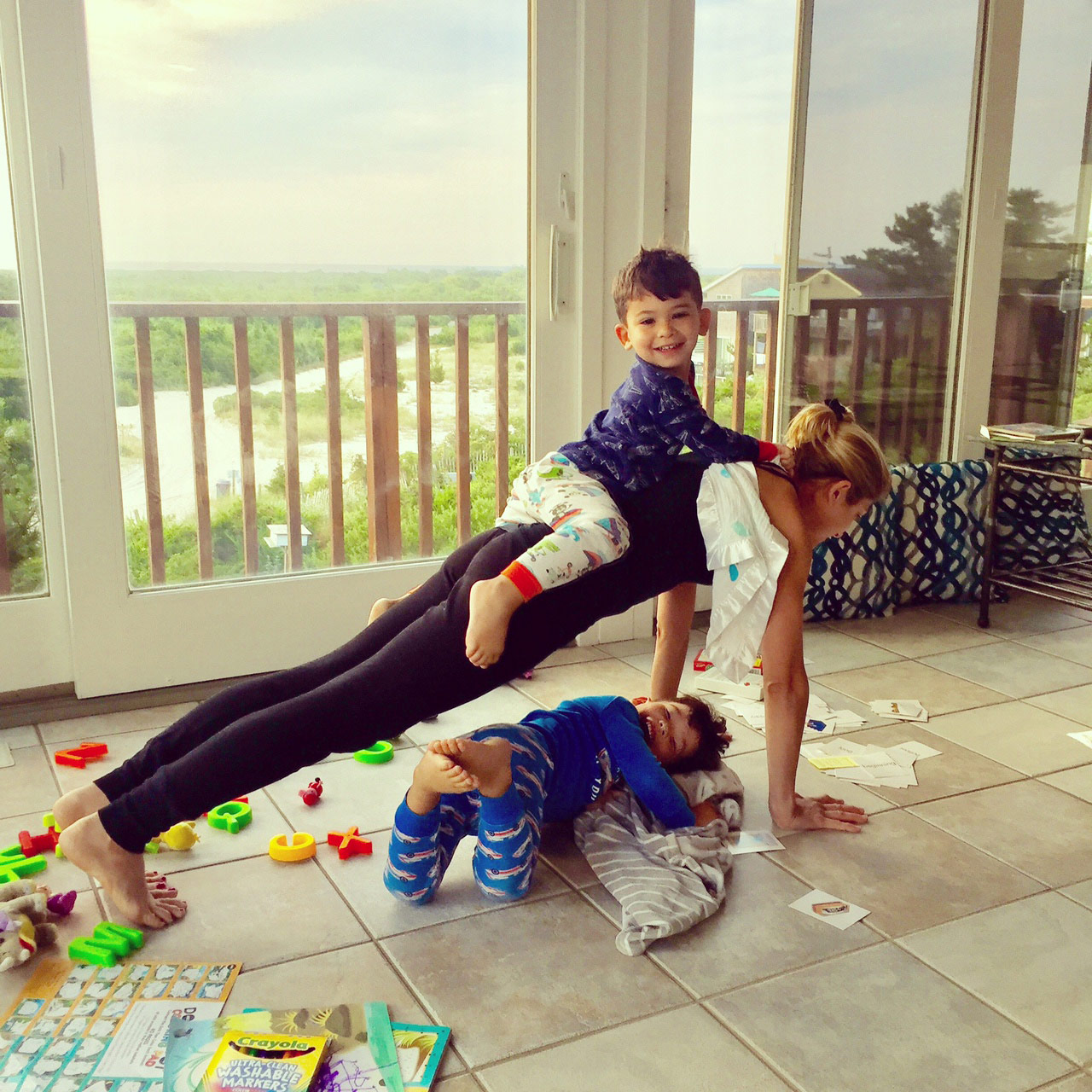 Yoga with two kids and mom Goldie Oren